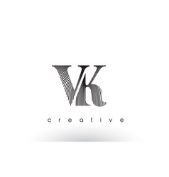 Vk logo design with multiple lines and black and vector