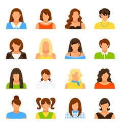 Woman avatar icons set vector