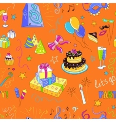 Colored hand-drawn party icon pattern vector image vector image