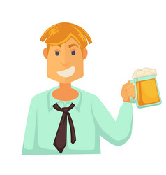 man holding glass of beer with foam isolated on vector image