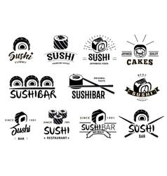 Monochrome Japanese Food Labels Set vector image