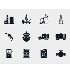 Petroleum and oil icons set vector image