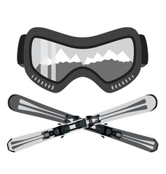 set of ski and glasses goggles in trendy flat vector image
