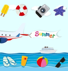 Summer theme with plane and other objects vector