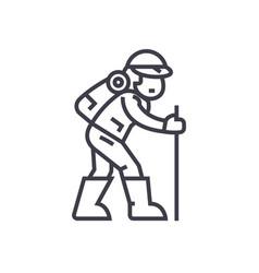 travelerhiking man line icon sign vector image