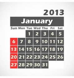 Calendar 2013 January vector image