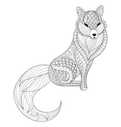 Fox in zentangle style Freehand sketch for adult vector image