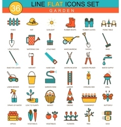 garden tools flat line icon set Modern vector image