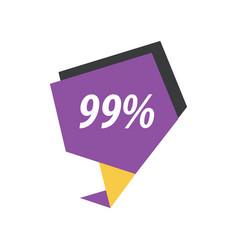 Ninety nine percent label purple yellow black vector