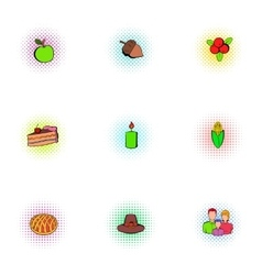 Public holiday of usa icons set pop-art style vector