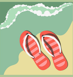 striped flip flops on sand near water summer vector image