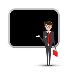 teacher or businessman with empty blackboard vector image vector image