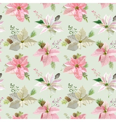 Vintage Poinsettia Background Christmas Pattern vector image