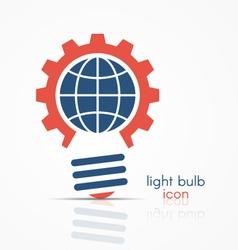 Gear light bulb idea icon with globe sign vector