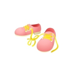 Pink shoes with laces tied together icon vector image