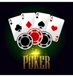 Poker banner with playing cards and chips vector image vector image