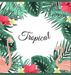 tropical jungle palm leaves flamingo flowers frame vector image vector image