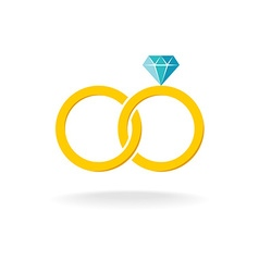 Wedding rings logo Two golden crossed rings with vector image vector image