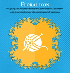 Yarn ball icon sign Floral flat design on a blue vector image