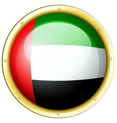 arab emirates flag on round metal badge vector image