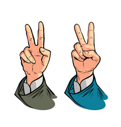hand gesture of victory or peace vector image vector image