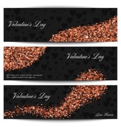 Happy Valentines day black banners Shiny flying vector image