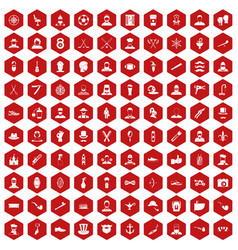 100 beard icons hexagon red vector