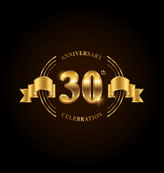 30 years anniversary celebration logotype golden vector image