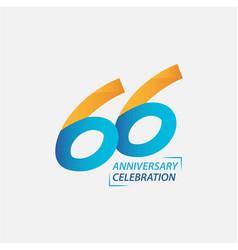 66 year anniversary celebration template design vector