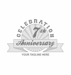 7 th anniversary grey shine background vector
