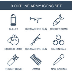 9 army icons vector