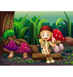 A girl sitting on a wood with mushrooms vector
