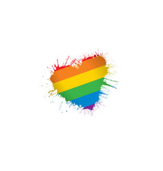 A rainbow flag waving on white background vector