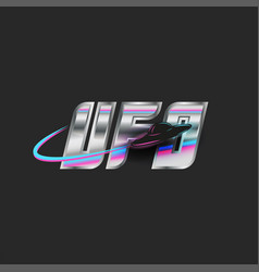 Abbreviation ufo logo silver metal lettering vector