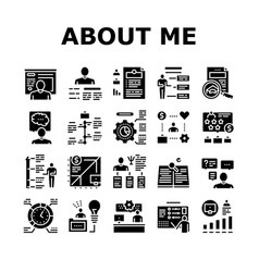 About me presentation collection icons set vector