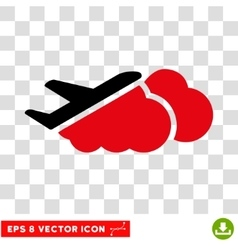 Airplane Over Clouds Eps Icon vector