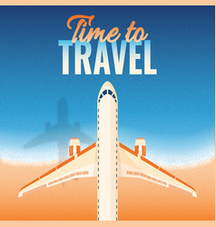 airplane over sea vacation retro background vector image