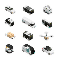 autonomous vehicles isometric icons vector image