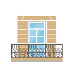 Balcony with wrought iron railing in classic style vector