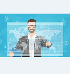 bearded man touching the computer screen while vector image