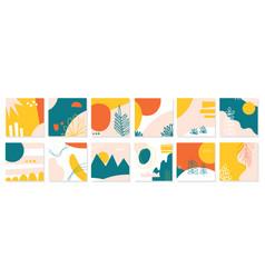 big set twelve abstract backgrounds hand drawn vector image