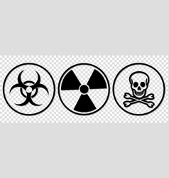 biohazard toxic and radiation signs vector image