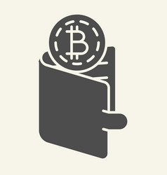 bitcoins in wallet solid icon crypto coins in vector image