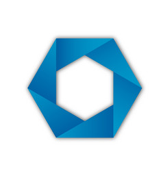 blue hexagon abstract shape icon vector image