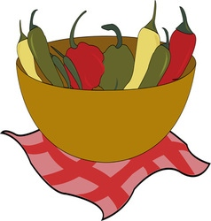 Bowl of peppers vector