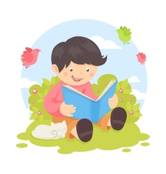 Boy reading book vector image