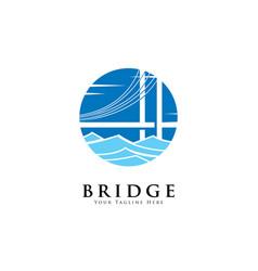 bridge on river logo design template vector image