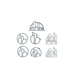 building icon line art logo vector image