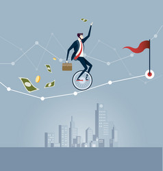 Businessman balancing on unicycle trying to drive vector