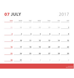 Calendar planner 2017 july week starts sunday vector